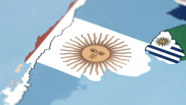 Argentina Borders with National Flag on World Map