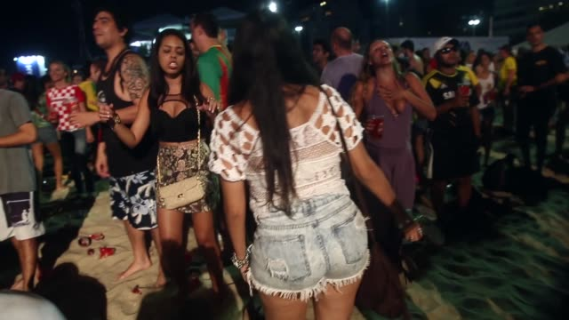 argentina fans celebrate a victory at the fifa fan fest on copacabanaa beach on june 15, 2014 in rio de janeiro, brazil. the match was played on the... - international team soccer stock videos & royalty-free footage