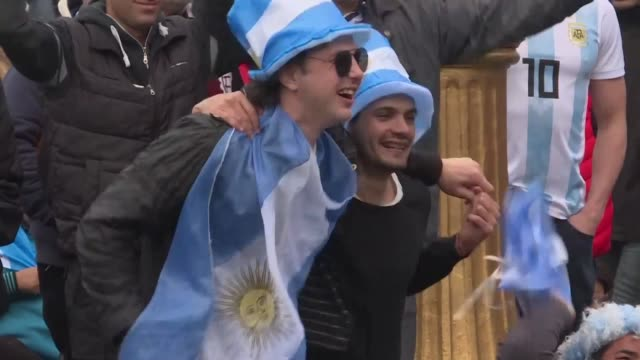 argentina fans celebrate their team's first goal scored by angel di maria in the first half of the france argentina world cup game and react to... - fifa world cup 2018 stock videos & royalty-free footage