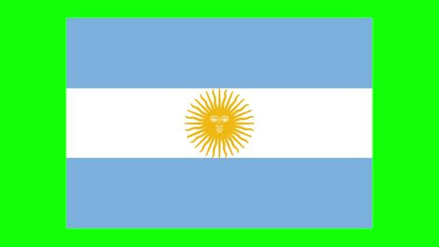 argentinien flagge animation auf grünem bildschirm hintergrund, chroma-taste, loopable - argentinische flagge stock-videos und b-roll-filmmaterial