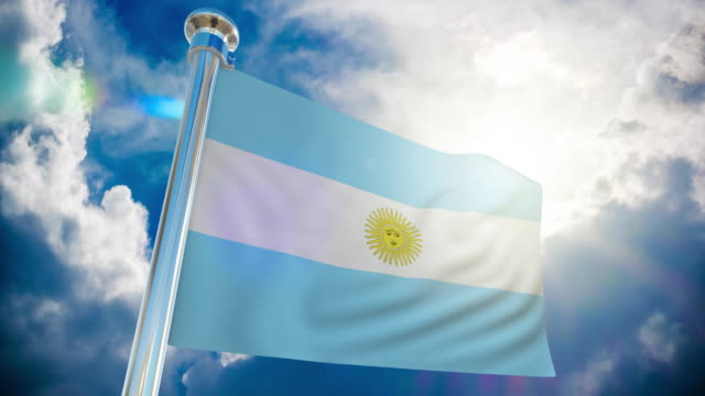 4k - argentina flag | loopable stock video - buenos aires province stock videos & royalty-free footage