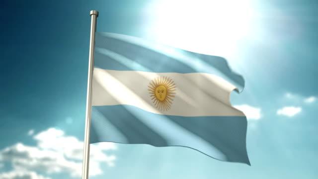 argentinien-flagge himmel - argentinische flagge stock-videos und b-roll-filmmaterial