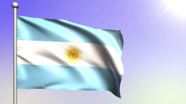 argentina flag (loopable) - bandiera dell'argentina video stock e b–roll