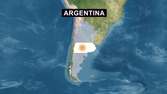 Argentina Map with Argentinian Flag, zoom in to Argentina terrain map from wide perspective view