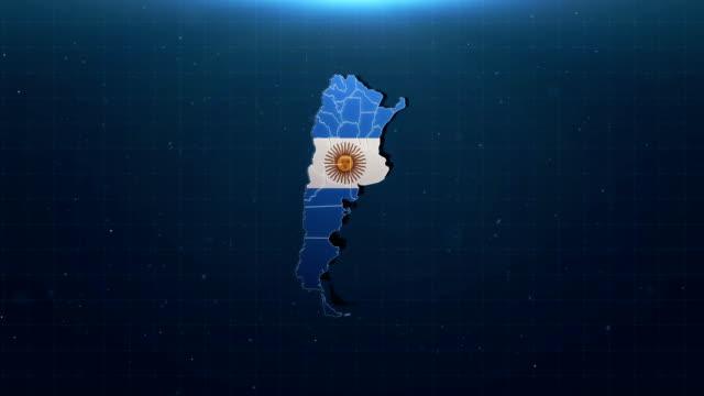 4k argentinien karte mit nationalflagge - argentinische flagge stock-videos und b-roll-filmmaterial