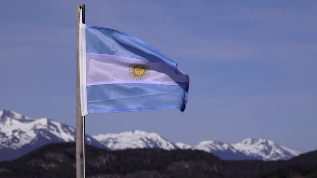 argentina national flag, ushuaia area, argentina - argentinian culture stock videos & royalty-free footage