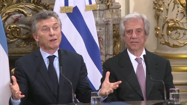 argentina uruguay and paraguay will form a joint bid to host the centenary world cup in 2030 the presidents of the three countries confirmed on... - mauricio macri stock videos and b-roll footage
