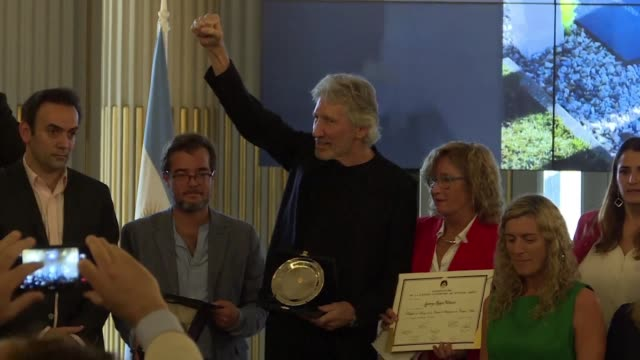 argentina's capital honors former pink floyd singer and composer roger waters during a ceremony with relatives of fallen soldiers of the falklands war - pink singer stock videos and b-roll footage