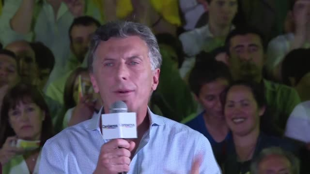 """argentinas conservative candidate mauricio macri vowed to be """"the candidate of those who think differently at his last campaign event in the buenos... - buenos aires province stock videos & royalty-free footage"""