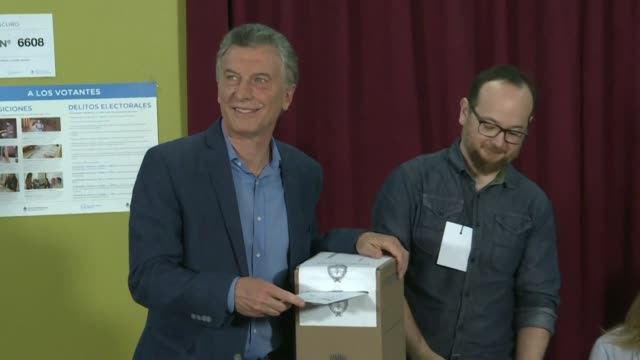 argentina's incumbent president and candidate to his reelection mauricio macri casts his ballot - mauricio macri stock videos and b-roll footage