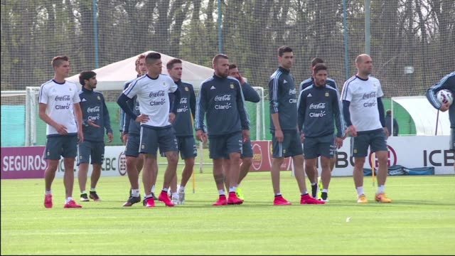 Argentina's national football team minus football star Lionel Messi started training on Monday in Ezeiza outside Buenos Aires ahead of the Copa...