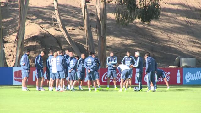 Argentinas national football team trains Wednesday near La Serena Chile one day after beating historic rival Uruguay 10 in the Copa America