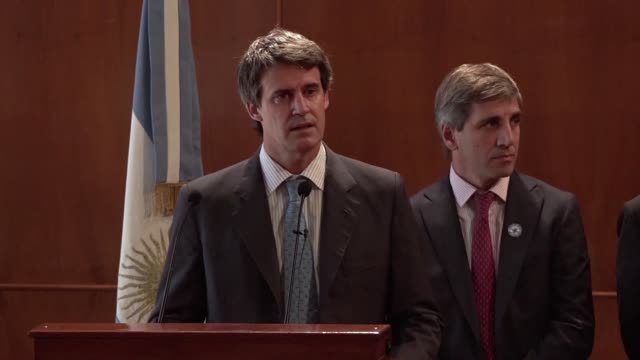 argentina's new minister of economy alfonso prat gay introduced his team to the press in buenos aires on friday one day after mauricio macri was... - mauricio macri stock videos and b-roll footage
