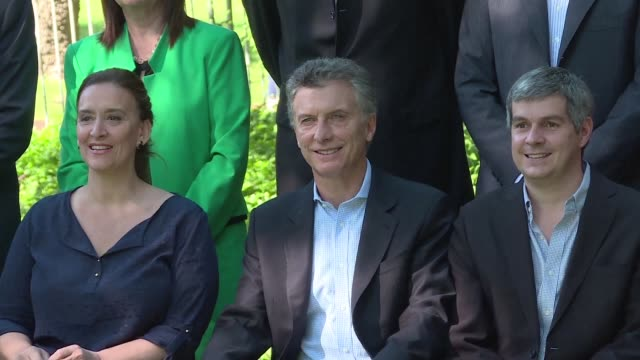 argentinas president elect mauricio macri introduced his cabinet and talked to the press in buenos aires botanical garden on wednesday a few days... - mauricio macri stock videos and b-roll footage