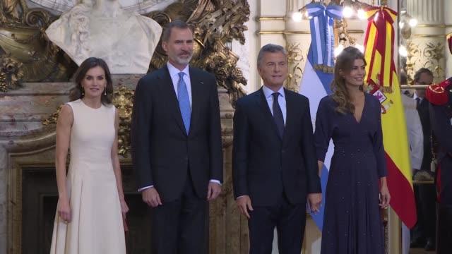 argentina's president mauricio macri and his wife first lady juliana awada welcome spanish king felipe vi and queen letizia at casa rosada in buenos... - mauricio macri stock videos and b-roll footage