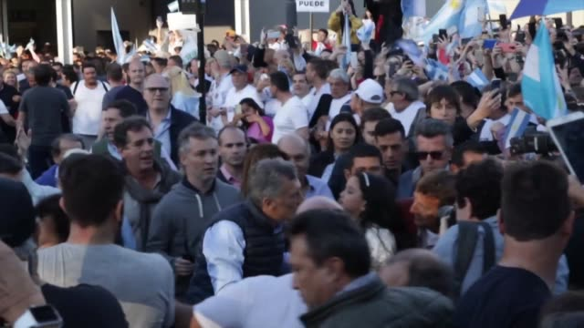 argentina's president mauricio macri holds his first campaign rally ahead of presidential elections in october - mauricio macri stock videos and b-roll footage