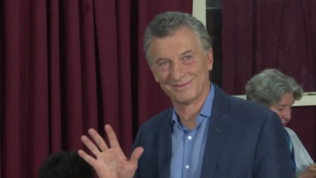 argentina's president mauricio macri votes in the country's presidential elections which he says had an overseas voter record showing that this is a... - mauricio macri stock videos and b-roll footage