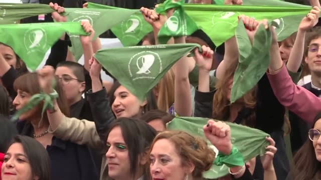argentine abortion protesters take to the red carpet at the cannes film festival ahead of the screening of documentary que sea ley by juan solanas - documentary film stock videos & royalty-free footage