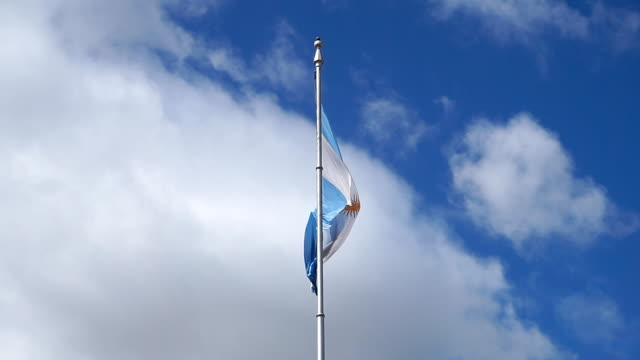 argentine flag in downtown buenos aires, argentina - buenos aires stock videos & royalty-free footage