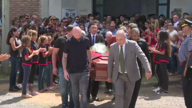 Argentine footballer Emiliano Sala's coffin departs after his funeral at the San Martin football club in his hometown of Progreso
