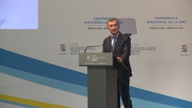 Argentine president Mauricio Macri inaugurates the 11th Ministerial Conference of the WTO with a call to support multilateralism fair trade and clear...