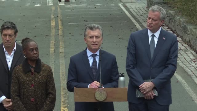 argentine president mauricio macri joins new york mayor bill de blasio to pay tribute to the victims of the bike path truck attack that left eight... - mauricio macri stock videos and b-roll footage