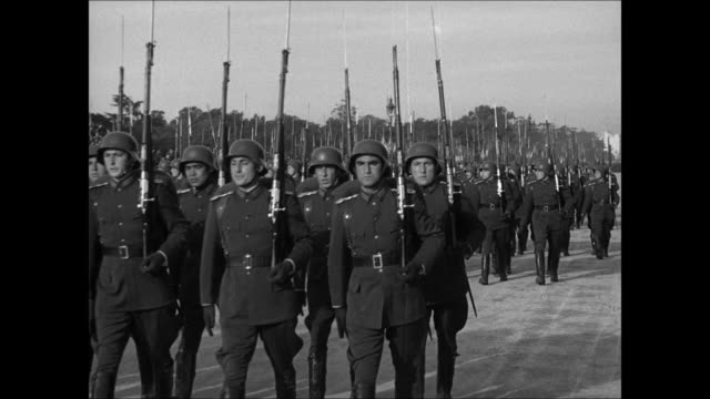argentine soldiers goose-stepping in parade. president ramirez, general farrell & other generals, officials, standing & saluting. soldiers... - argentina video stock e b–roll