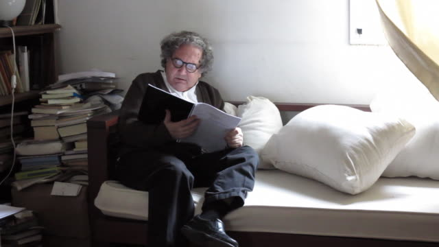 argentine writer, author, critic, and scholar ricardo piglia during a video interview at his studio on august 26, 2013 in buenos aires, argentina. - critic stock videos & royalty-free footage