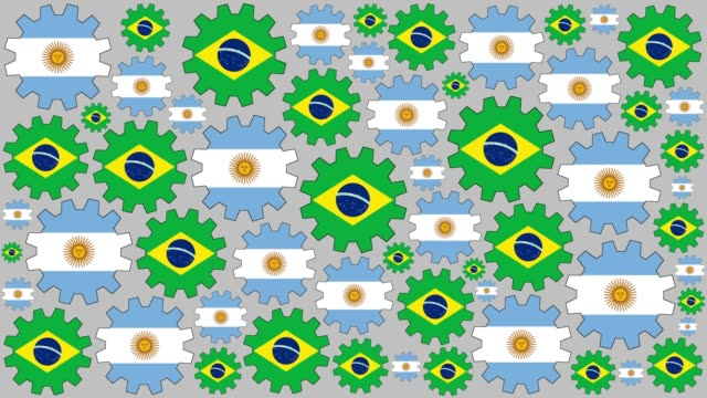 argentinian and brazilian flag gears spinning background - bandiera dell'argentina video stock e b–roll