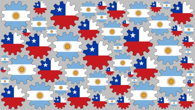 argentinian and chilean flag gears spinning background - argentinian flag stock videos & royalty-free footage