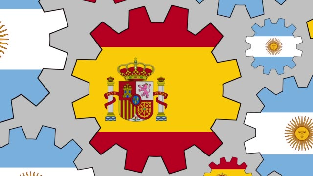 argentinian and spanish flag gears spinning background zooming out - bandiera dell'argentina video stock e b–roll