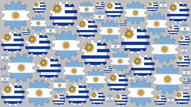 argentinian and uruguayan flag gears spinning background - uruguaian flag stock videos & royalty-free footage