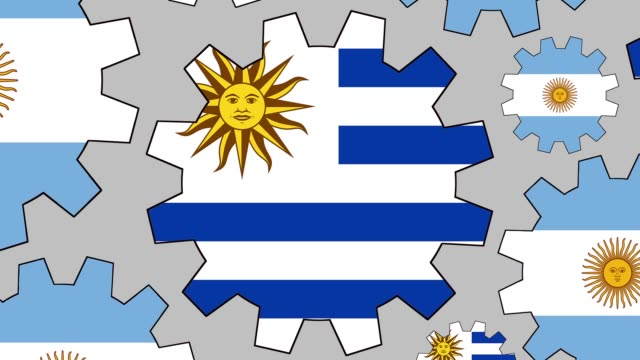 argentinian and uruguayan flag gears spinning background zooming out - uruguaian flag stock videos & royalty-free footage