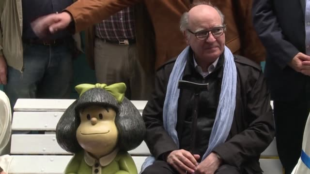 "argentinian cartoonist joaquin salvador lavado, ""quino,"" creator of the popular comic strip mafalda, dies aged 88 - cartoonist stock videos & royalty-free footage"