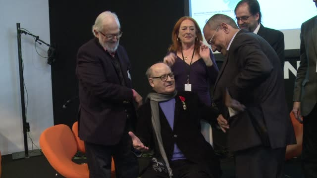 stockvideo's en b-roll-footage met argentinian cartoonist quino made famous by his character mafalda was awarded the french legion of honor - cartoonist