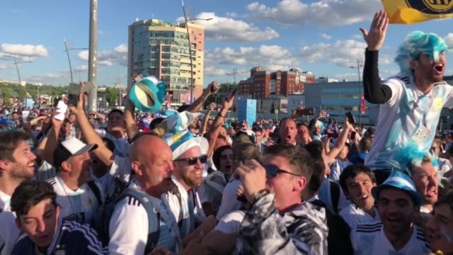 argentinian fans celebrating ahead of the game with croatia on 21st of june 2018 in nizhny novgorod - world sports championship stock videos & royalty-free footage