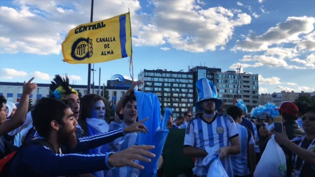 Argentinian fans celebrating ahead of the game with Croatia on 21st of June 2018 in Nizhny Novgorod