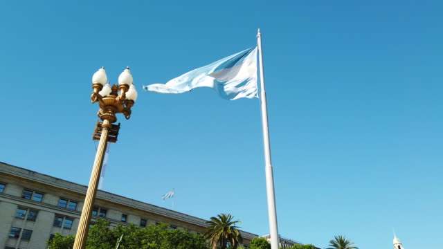 argentinian flag flying in the wind near the government palace, buenos aires - argentinian flag stock videos & royalty-free footage