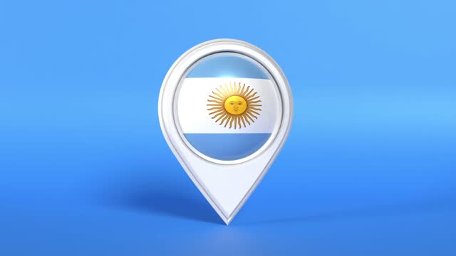 argentinian flag in a white map pointer on blue background loop ready in 4k resolution - argentinian flag stock videos & royalty-free footage