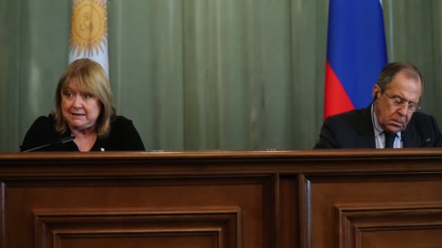 argentinian foreign affairs and worship minister susana malcorra and russian foreign minister sergei lavrov hold a joint press conference following... - government minister stock videos & royalty-free footage