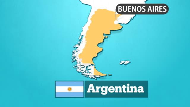 argentinische karte mit fahne - argentinische flagge stock-videos und b-roll-filmmaterial