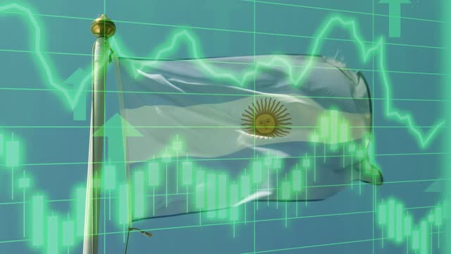 argentinian national flag with positive growth chart and graph data. concept piece to indicate improving gdp, stock market crash, recession, depression, inflation, deflation, bull market, good national, economic and business performance - argentinian flag stock videos & royalty-free footage