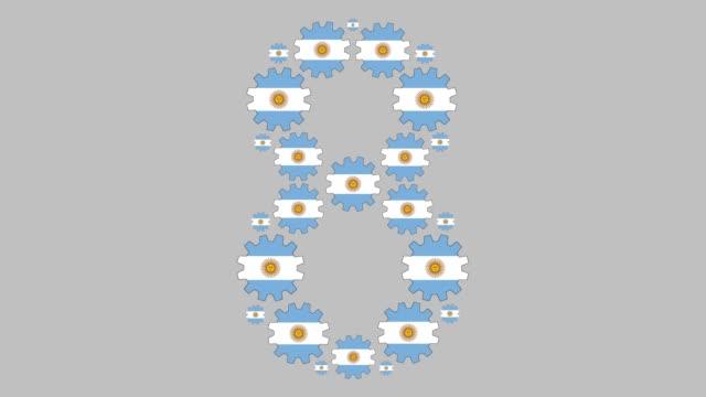 argentinische nummer acht - argentinische flagge stock-videos und b-roll-filmmaterial