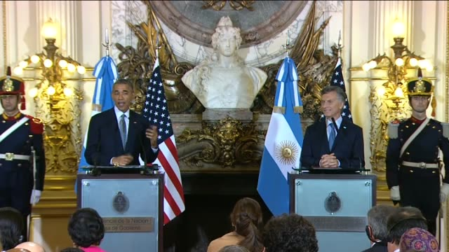 argentinian president mauricio macri and us president barack obama hold ajoint press conference following their meeting at the casa rosada... - mauricio macri stock videos and b-roll footage