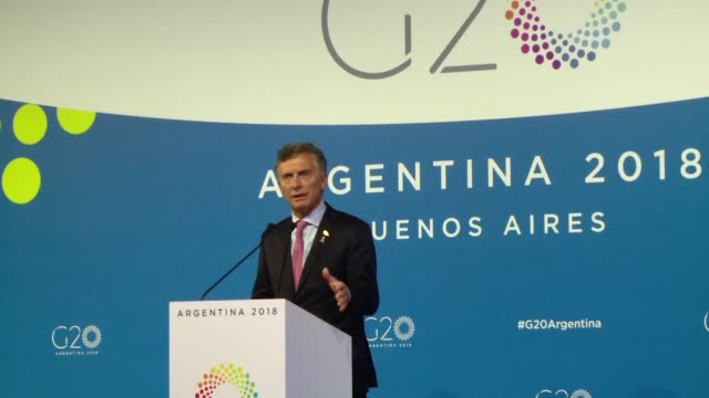 argentinian president mauricio macri holds a news conference at the g20 summit and says the united states which is the most open in the world does... - mauricio macri stock videos and b-roll footage