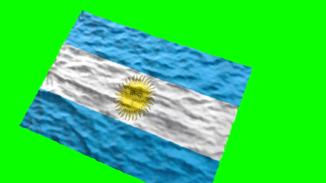Argentinian stadium flag. Waving on green screen