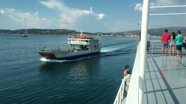Argostoli and Lixouri ferries passing each other.
