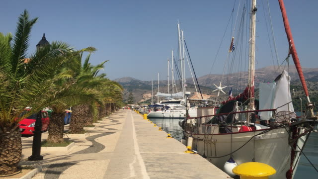 Argostoli harbour on the Greek island of Kefalonia.
