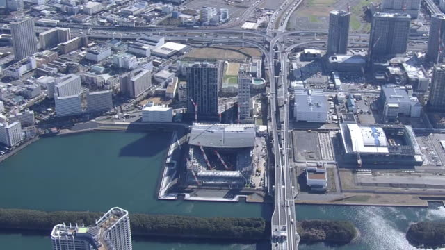 aerial, ariake arena u/c, tokyo, japan - tokyo bay stock videos & royalty-free footage