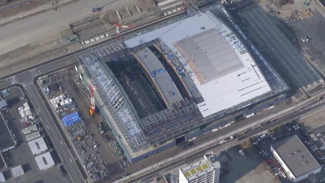 aerial, ariake gymnastics centre u/c, tokyo, japan - tokyo bay stock videos & royalty-free footage